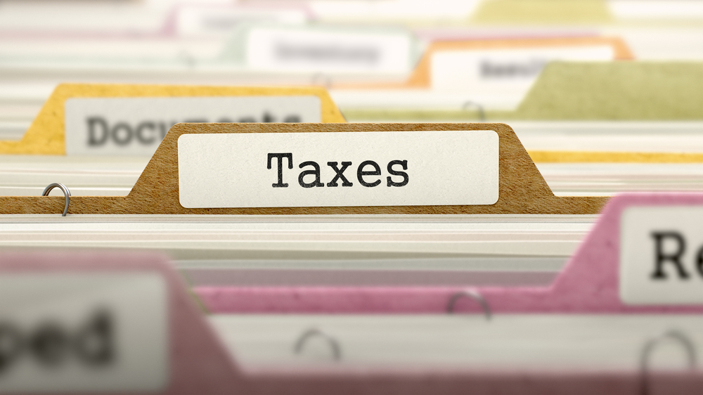 Taxes Concept on File Label in Multicolor Card Index. Closeup View. Selective Focus.-1